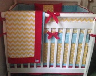 Mini Crib Bedding Yellow Aqua Red