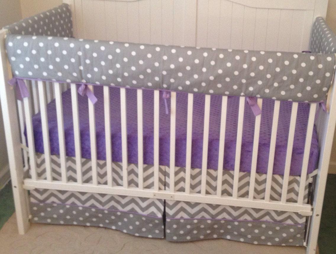 bumperless crib bedding set lavender and gray chevron