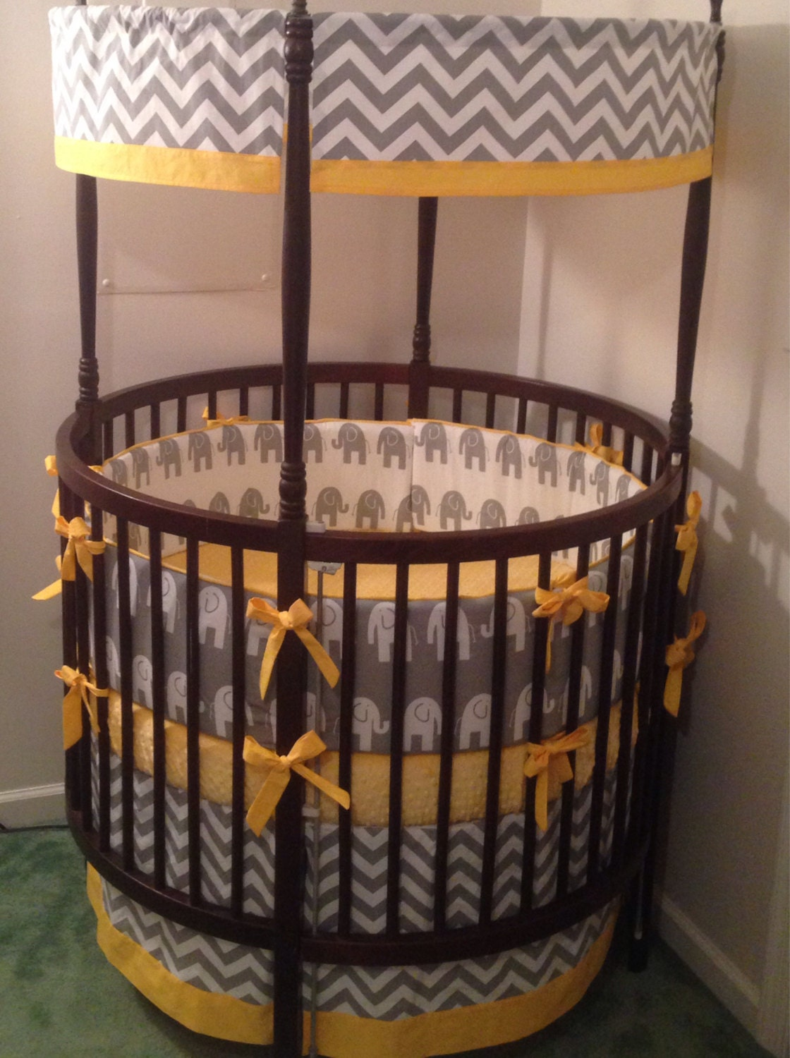 Round Crib Bedding Set Gray Elephant And Your Choice Of Accent