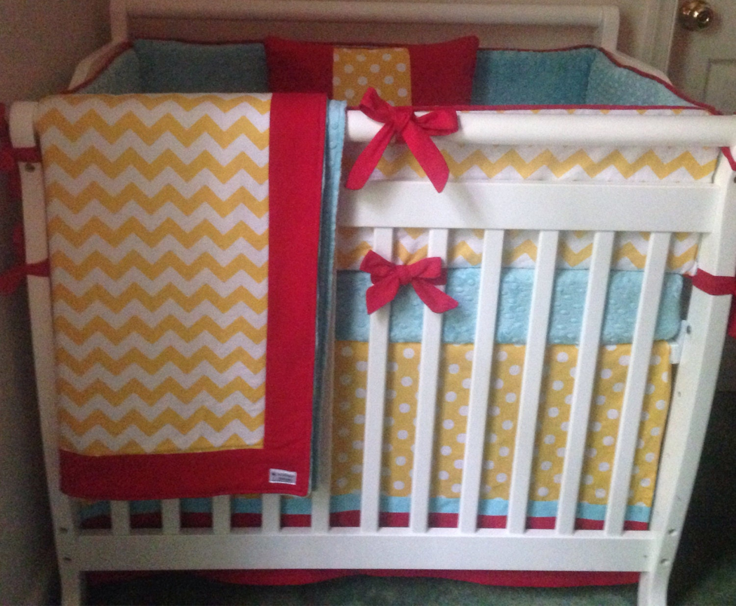 mini crib bedding yellow aqua red by butterbeansboutique on etsy. Black Bedroom Furniture Sets. Home Design Ideas