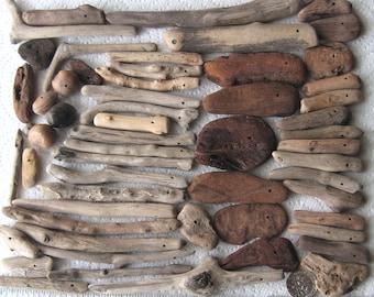 58 Driftwood Sea Wood Beads Sticks Drilled 1.2mm holes Supplies (1637)