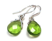 Olive Green Quartz Glass Briolette Earrings, Bridesmaid Gifts, Wedding Jewelry