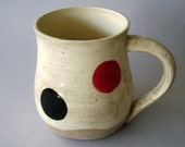 Polka dot hand made ceramic mug