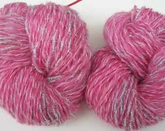 Handspun  Shetland    yarn . Going pink.