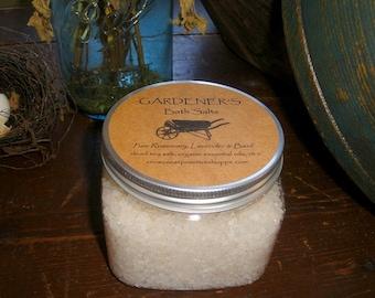 All Natural Gardeners Bath Salts made with Dead Sea Salt, Rosemary and Basil organic essential oils plus vitamin e