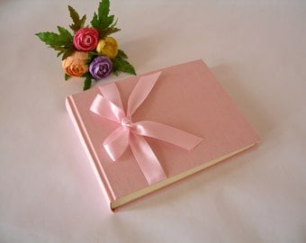 Photo album - pale pink with pink satin ribbon - 6x8 in 15x20.5cm - 30 pages -wedding or baby girl photo album - Ready to ship