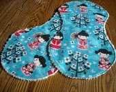 SALE 2 Cute Flannel Burp Cloths with Chenille Back Cherry Blossom Girl, ready to ship