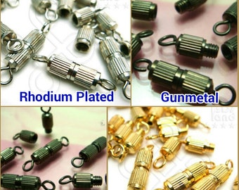 SALE -30% / B502 / 40 Pc / Dia. 4 x 11 mm - Screw-On Corrugated Clasps Findings
