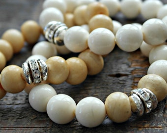 Natural bone bracelets boho bling with sterling silver crystal beads