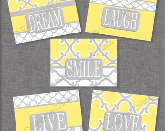 Yellow and Gray Wall Art Decor Prints Inspirational Quote LIVE laugh LOVE dream SMILE