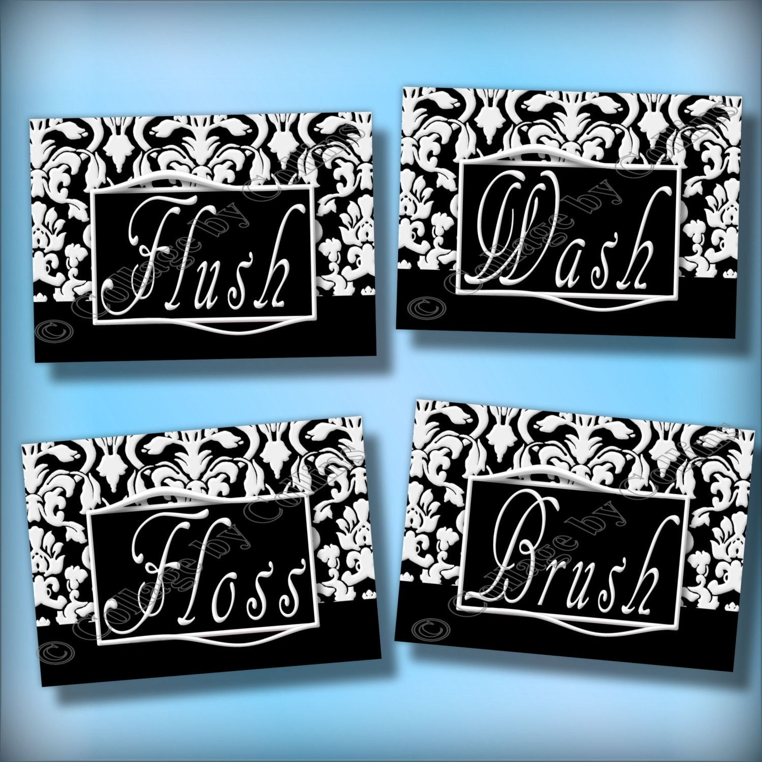 Black And White Damask Bathroom Art Wall Decor By