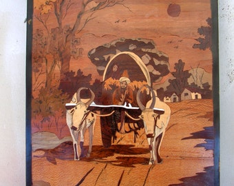 Marquetry Panel Inlay Wood Mosaic Art Wooden Folk Art Picture Ox Cart Scene Primitive Rustic