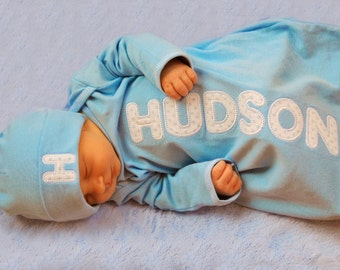 Baby Boys Custom Personalized Applique Newborn Layette Gown, Newborn Gown, Infant Layette Gown, Baby Shower Gift, Take Home Outfit, LDM