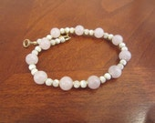 Beautiful Little Girl Pink And White Beads Bracelet 1/20 14k gf