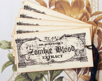 Halloween Tags Apothecary Zombie Blood Vintage Style Party Favor Gift Tags Treat Bag Tags Handmade TH013