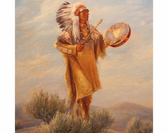 Drumming his Vision   Original  oil painting  20x16inches