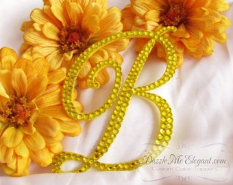 Yellow Cake Topper - Wedding Cake Topper - Personalized Custom Monogram Letter Cake Topper - Yellow Crystal Cake Topper - Bride and Groom