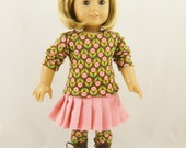 REDUCED Fits 18 Inch Dolls 3 Piece Set T Shirt Pleated Skirt Leggings Brown Pink Green