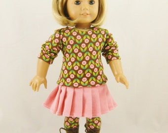 Fits 18 Inch Dolls 3 Piece Set T Shirt Pleated Skirt Leggings Brown Pink Green