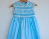 Vintage Toddler Girl Dress - Sleeveless Blue (2T)