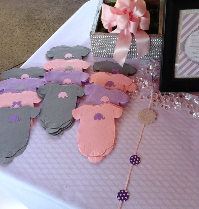 Any Quantity Gray And Purple Lilac Baby Shower Shirt Shaped Or