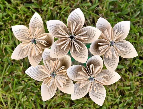 Gone With the Wind Recycled Book Paper Flowers {5 Medium Size}