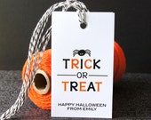 Trick or Treat with Spider Personalized Halloween Tags . 2 x 3.5 inches