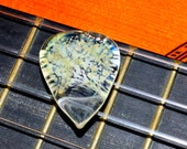 Long Guitar Pick Amber Purple Dab with White Backing - Handmade Glass