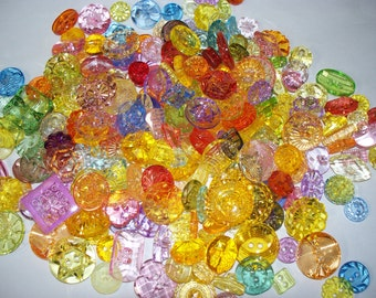 250 Small to Medium Size Jewel Like Buttons  (Free US Shipping)