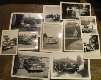 11 Vintage Photos Snapshot Photographs of People and Cars 30s 40s
