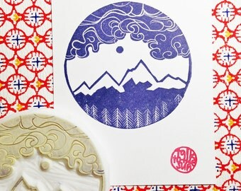 winter alps mountain stamp. woodland hand carved rubber stamp. christmas birthday wedding scrapbooking. winter crafts. large