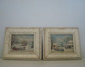 Framed Currier & Ives Vintage Home For Christmas and Road In Winter Lambert