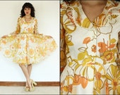 Vintage 60's Floral- Mod- dolly- swing- lace- flowy- flared- preppy- romantic- yellow- dress S/M