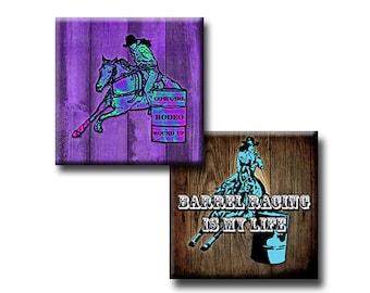 Female Barrel Racing - 1 inch squares - Digital collage sheet