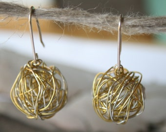 Silver and Gold Wire Ball Earrings - Big dangling balls on Long handformed Sterling silver earwires