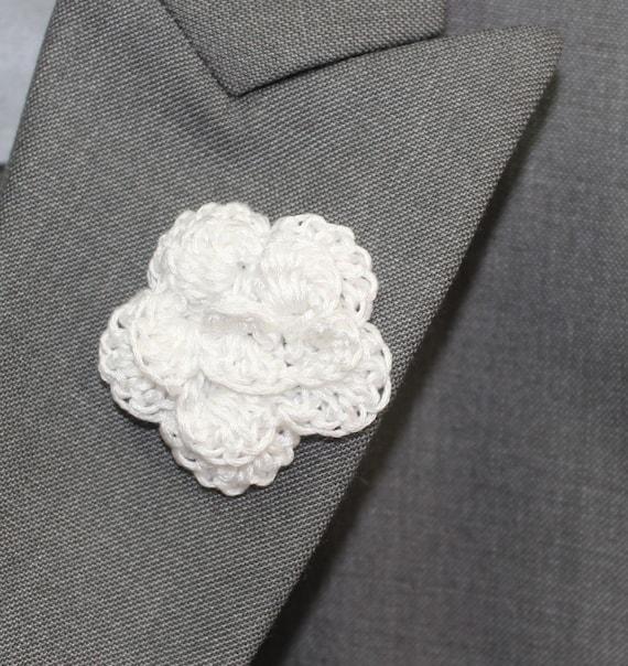 Items similar to Lapel Flower Boutonniere, Crochet Mens ...