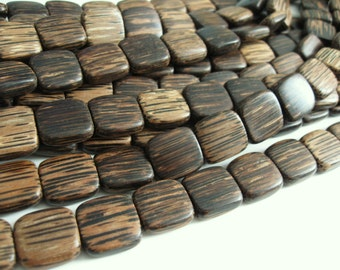 6 Square Tiger Brown Wood Beads - Patikan Wood Bead 16mm  (PC236B)