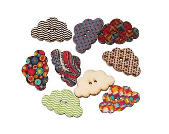 Cloud wood sewing buttons - 5 Mixed Patterns scrapbooking buttons (BB100C)