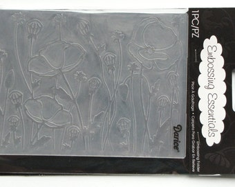 Poppies - a2 embossing folders - poppies field - darice embossing - poppies folder - gift for card maker - Card Embossing