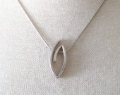 Vintage Sterling Silver Abstract Artisan Pendant Necklace Signed 925