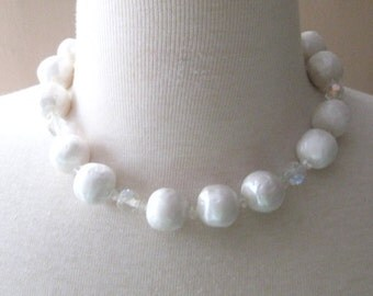 Vintage Bridal Wedding Choker Necklace Faux Baroque Dimpled Pearls with Crystals