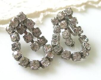 Vintage Drippy Dangle Rhinestone Earrings