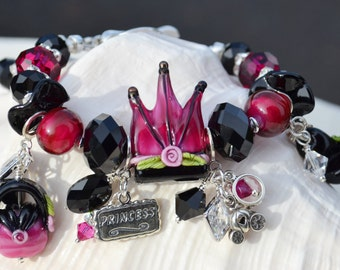 PRINCESS-RELLA-Handmade Lampwork and Sterling Silver Bracelet