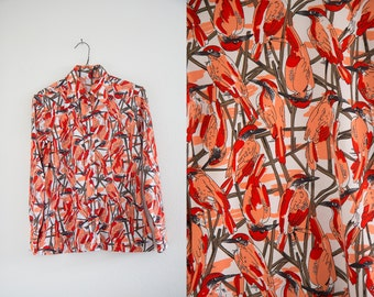 Vintage 1970s Bird Print Button Up Collared Blouse