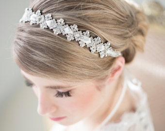 Wedding Headband, Bridal Rhinestone Headband, Ribbon Headband