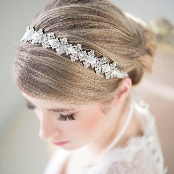 wedding headband bridal rhinestone headband ribbon headband