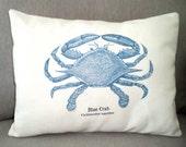 Blue Crab Lumbar Pillow Cover, Beach Decor, Cottage, Throw Pillow, Nautical Blue Crab Print Choice of Three Fabrics, One 12 x 16 or 12 x 18