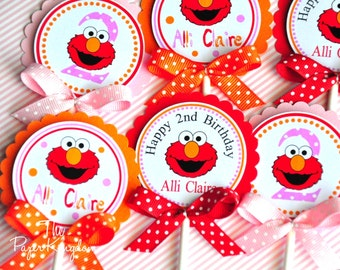 Elmo Cupcake Toppers, Elmo Birthday Party, Girl Elmo Party, Cupcake toppers with bows