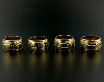 Solid 14k Gold Native American Totem Bead Hand Engraved Haida Symbols Pandora Charm