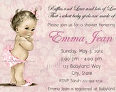 Vintage Baby Shower  Invitation Personalized Digital Download C-536 Sweet Baby Girl